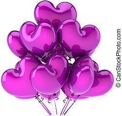 roxo, Partido, balões, corações