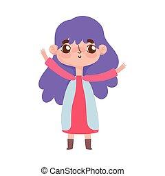 roxo, pequeno, gesto, menina, cabelo, facial