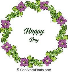 roxo, quadro, ilustração, vetorial, convite, floral, dia, feliz