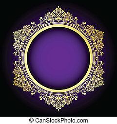 roxo, quadro, vetorial, ouro, &