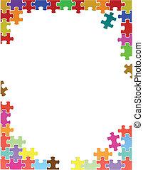 roxo, quebra-cabeça, ilustração, pedaços, modelo, borda