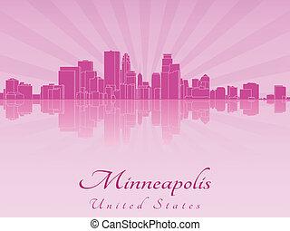 roxo, radiante, skyline, minneapolis, orquídea