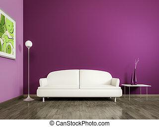 roxo, sala, com, um, sofá branco