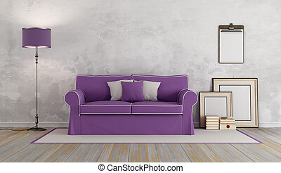 roxo, sofá, em, um, clássicas, sala