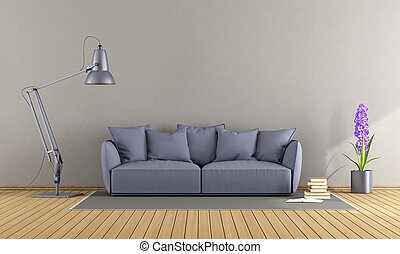 roxo, sofá, em, um, vida moderna, sala