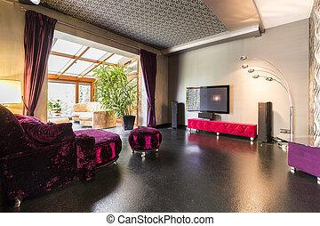 roxo, sofá, velour, tv, área