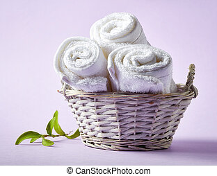 roxo, spa, fundo branco, toalhas