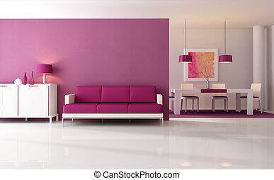 roxo, vivendo, quarto moderno
