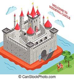royal, âges, milieu, château, composition, européen