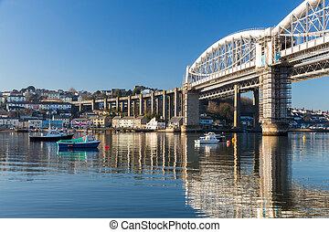 Royal Albert Bridge designed by Isambard Kingdom Brunel as seen from Saltash Passage Plymouth Devon England UK Europe