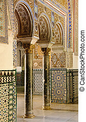 Royal Alcazar in Seville, Spain - Details of arches ...