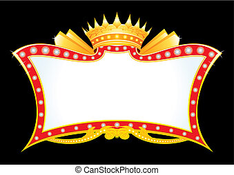 Gold antique frame with diamonds and crown