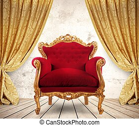 Royal armchair - Room with golden curtains and royal ...