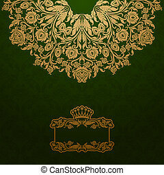 Royal background - Elegant gold frame banner with crown,...