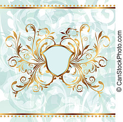 Royal background with golden ornate frame and heraldic...