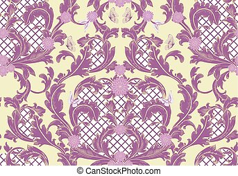 royal baroque floral pattern with butterflies. seamless backgrou