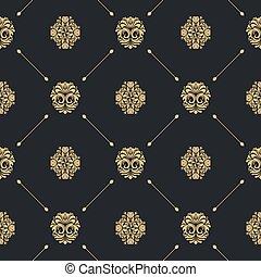 Royal baroque seamless black pattern