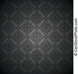Royal black ornamental wallpaper