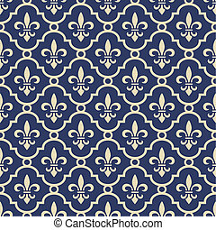 Retro royal vector background with fleur de lis on the blue, full scalable vector graphic and 300 dpi JPG.
