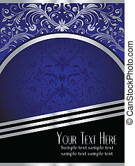 Royal Blue Background with Ornate Silver Leaf - An elegant...