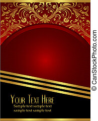 Royal Burgundy Background with Ornate Gold Leaf - An elegant...