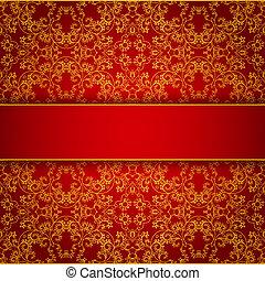 Royal burgundy invitation with gold lace ornament - Elegant...