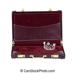 Royal business treatment shown by a briefcase with a diamond...