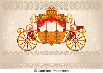 Royal carriage the grunge background