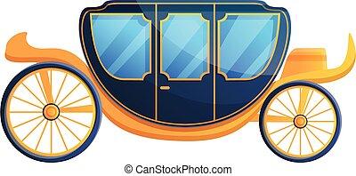 Royal carriage icon, cartoon style