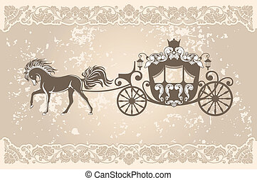 Royal carriage with  horse on the grunge background