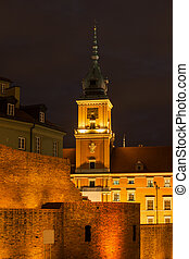 Royal Castle And City Wall In Warsaw At Night
