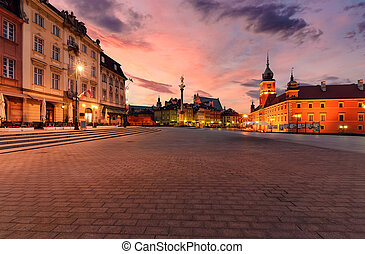 Royal castle and old town square at sunrise in Poland