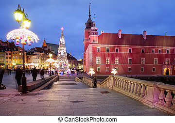 Royal Castle by Night in Old Town of Warsaw