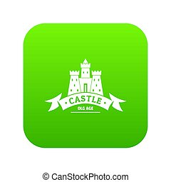 Royal castle icon green isolated on white background