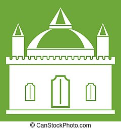 Royal castle icon green
