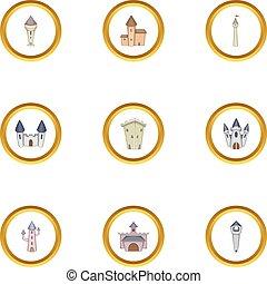 Royal castle icons set, cartoon style