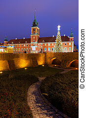 Royal Castle in Old Town of Warsaw at Night