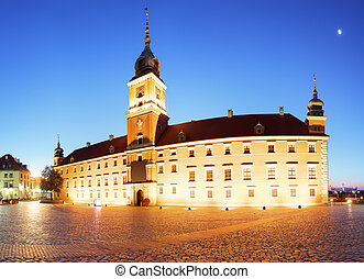 Royal Castle in the old town of Warsaw, Poland at the evening.