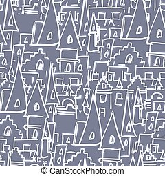Royal Castle with towers seamless pattern. Vector background of old buildings