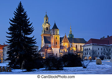 The Royal Cathedral on Wawel Hill within the grounds of Wawel Castle in Krakow in Poland. The cathedral features the Baroque style chapel of the Vasa family and the renaissance Zyguntowska Chapel whose dome is covered in pure gold provide by Queen Anna Jagiellonka in 1591.