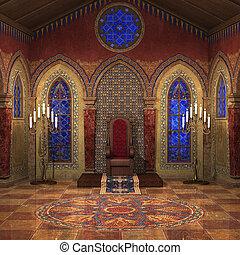 royal, chambre, trône
