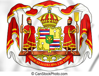 Royal Coat of Arms of Hawaii. 3D Illustration.