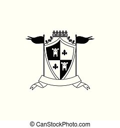 Royal coat of arms template with checkered shield shape decorated with crown
