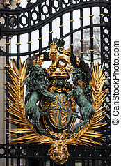 Royal Crest at Buckingham Palace Gate in London