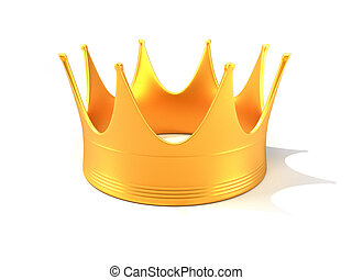 Royal crown - A golden royal crown over white background -...