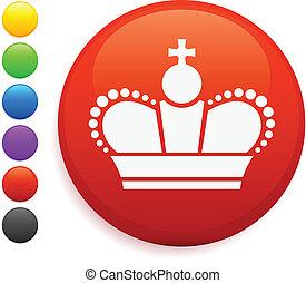 Royal crown icon on round internet button