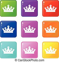 Royal crown icons 9 set