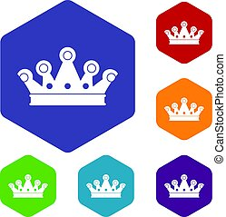 Royal crown icons set hexagon