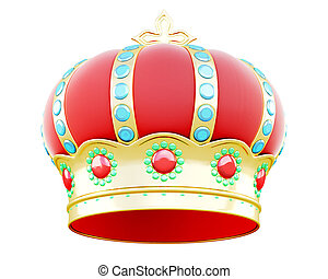 Royal crown isolated on white background. 3d render image