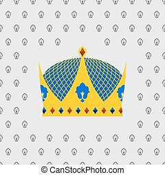 Royal Crown of gold with precious stones. Vector illustration